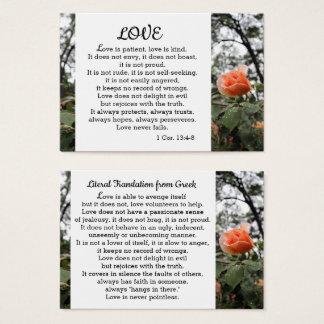 Cartes De Visite L'amour est 13:4 de Corinthiens du patient 1 - 8
