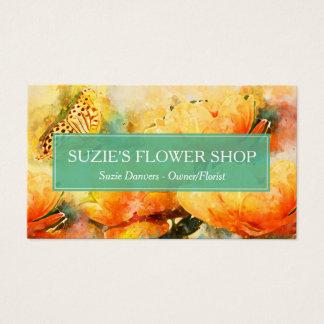 Cartes De Visite L'aquarelle colorée fleurit des affaires de