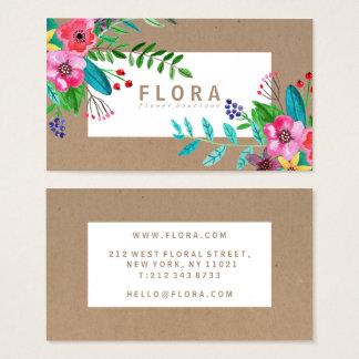 Cartes De Visite L'aquarelle moderne fleurit le fleuriste de papier