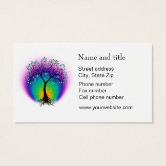 Cartes De Visite L'arbre d'arc-en-ciel de la vie se relient à votre