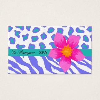 Cartes De Visite Lavande, blanc, zèbre floral turquoise et peau de