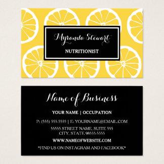 Cartes De Visite Le citron noir et jaune élégant découpe le