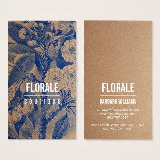 Cartes De Visite Le cru chic moderne de papier brun fleurit la