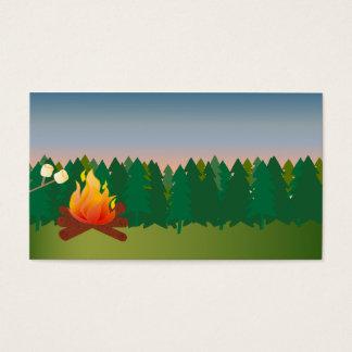 Cartes De Visite Le feu extérieur de camp d'été