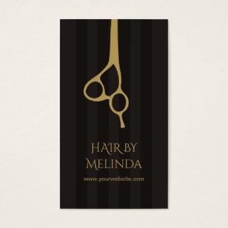 Cartes De Visite Le gris chic élégant barre le coiffeur d'or de