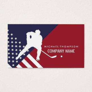 Cartes De Visite Le joueur de hockey, Etats-Unis diminuent, hockey