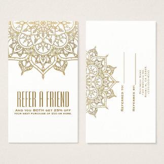 Cartes De Visite Le mandala d'or chic se réfèrent une référence