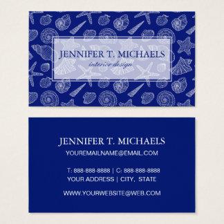 Cartes De Visite Le monogramme Shell bleu lumineux modèlent