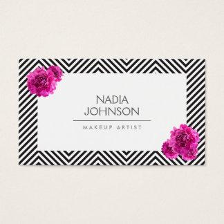Cartes De Visite Le motif noir et blanc avec le rose fleurit la
