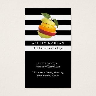 Cartes De Visite Le nutritionniste porte des fruits logo - rayures