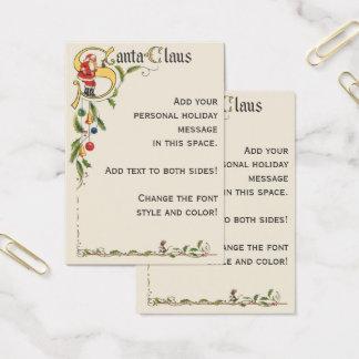 Cartes De Visite Le père noël vintage, frontière décorative de Noël
