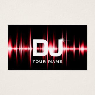 Cartes De Visite Le rouge moderne du DJ bat la musique