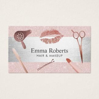 Cartes De Visite Le salon de coiffure de maquilleur rougissent