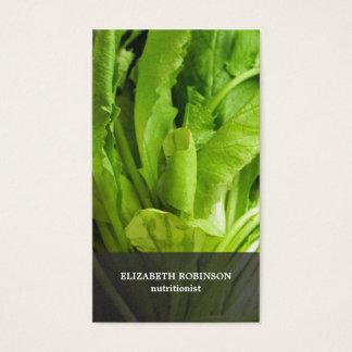 Cartes De Visite Le vert élégant moderne laisse le nutritionniste