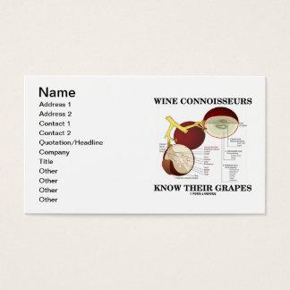 Cartes De Visite Les connaisseurs de vin connaissent leurs raisins