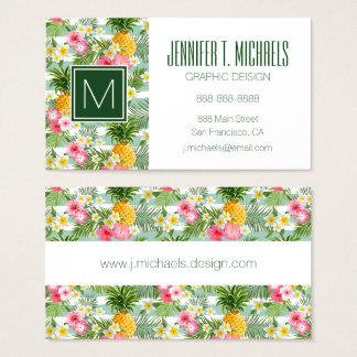 Cartes De Visite Les fleurs et les rayures tropicales d'ananas |