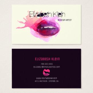 Cartes De Visite Lèvres énervées d'aquarelle de maquilleur