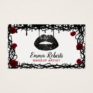 Cartes De Visite Lèvres noires de maquilleur roses et salon de