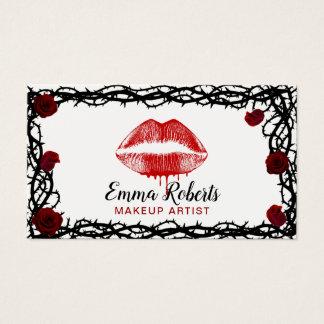 Cartes De Visite Lèvres rouges de maquilleur roses et salon de