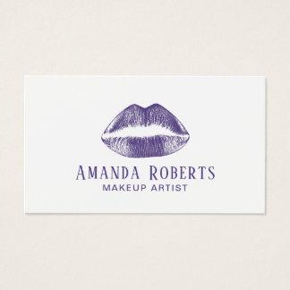 Cartes De Visite Lèvres violettes élégantes de maquilleur pourpres