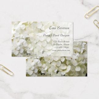 Cartes De Visite L'hortensia blanc fleurit le fleuriste