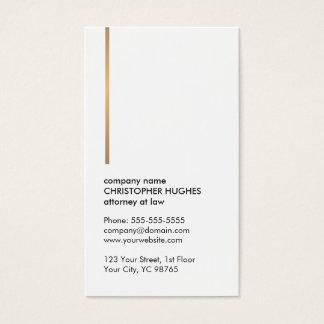 Cartes De Visite Ligne blanche élégante minimaliste mandataire d'or