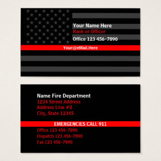 Cartes De Visite Ligne rouge mince contact de drapeau américain
