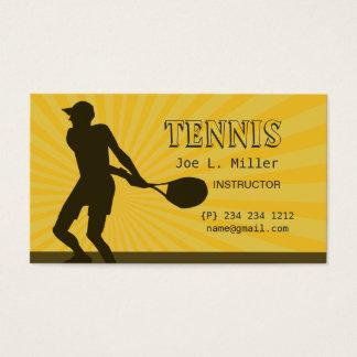 Cartes De Visite L'instructeur de joueur de tennis folâtre