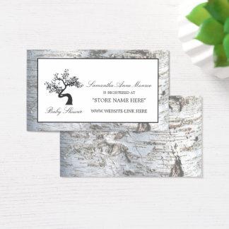 Cartes De Visite Liste de cadeaux rustique de baby shower d'arbre