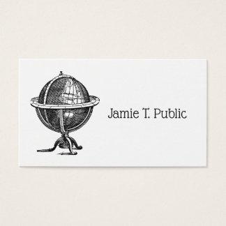 Cartes De Visite Lithographie vintage de globe du monde dessinant