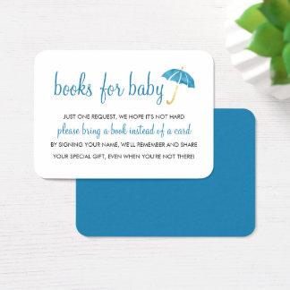 Cartes De Visite Livres bleus du baby shower | de parapluie pour