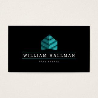 Cartes De Visite Logo à la maison abstrait Teal/noir