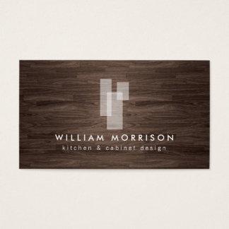 Cartes De Visite Logo architectural moderne sur la fibre de bois