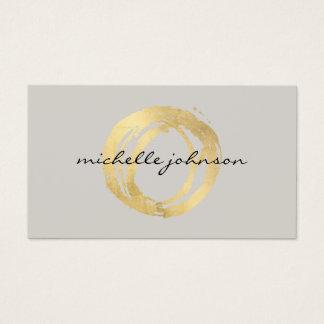 Cartes De Visite Logo de concepteur de cercle peint par or Luxe de