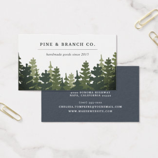 Cartes De Visite Logo de forêt de pin