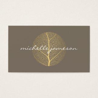 Cartes De Visite Logo élégant de feuille d'or sur le Taupe