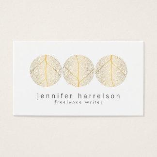 Cartes De Visite Logo élégant de trio de feuille d'or sur le blanc