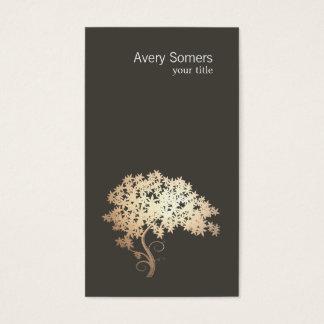 Cartes De Visite Logo élégant simple d'arbre d'or