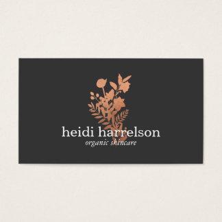 Cartes De Visite Logo floral d'or rose sur gris-foncé