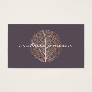 Cartes De Visite Logo rose élégant de feuille d'or