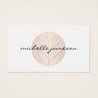 Cartes De Visite Logo rose élégant de feuille d'or sur le blanc
