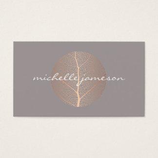 Cartes De Visite Logo rose élégant de feuille d'or sur le gris