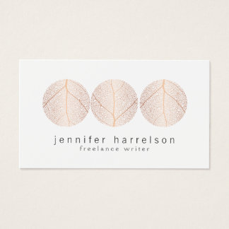 Cartes De Visite Logo rose élégant de trio de feuille d'or sur le