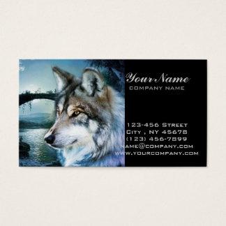 Cartes De Visite loup de pleine lune de clair de lune de forêt de