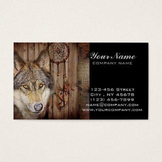 Cartes De Visite Loup indien indigène de receveur rêveur occidental