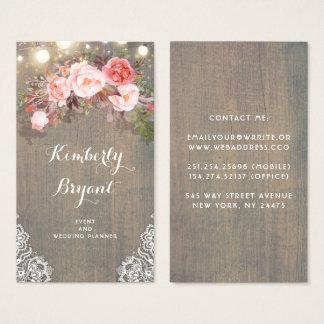 Cartes De Visite Lumières en bois rustiques florales roses de