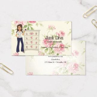 Cartes De Visite Madame Paintbrush Flower Dresser Roses minable