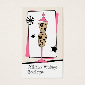 Cartes De Visite Magasin vintage/boutique - forme de robe de rose