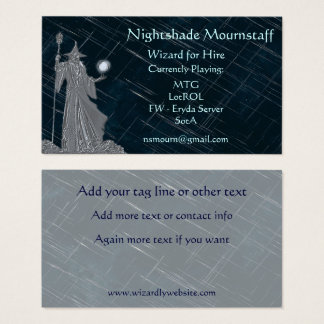 Cartes De Visite Magicien argenté sur le ciel nocturne