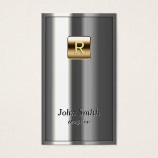 Cartes De Visite Magicien métallique de logo d'or de monogramme